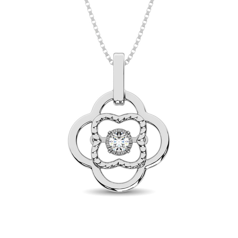 Sterling Silver Moving Diamond Accent Pendant