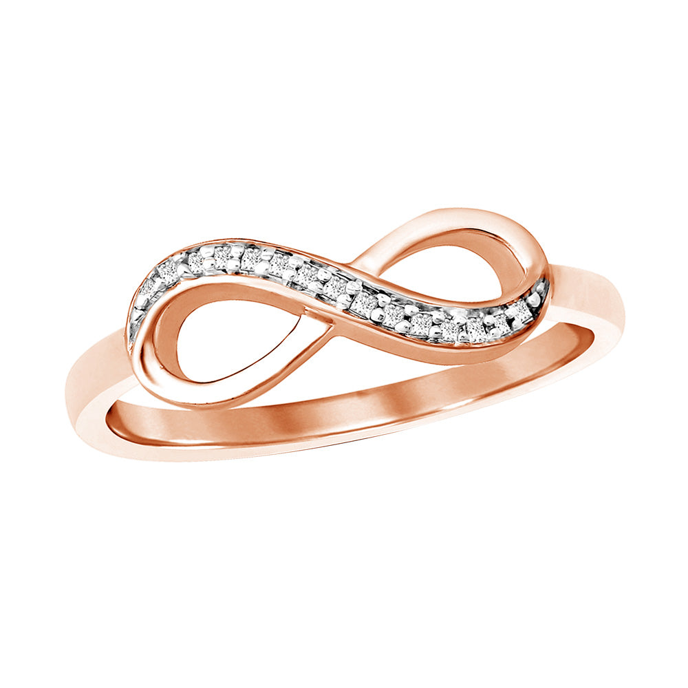 10K Rose Gold Diamond Accent Infinity Ring