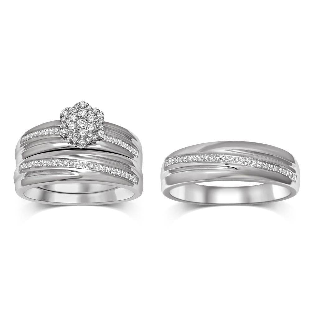 Composite Diamond 3/8 Ctw Trio Ring Set in Sterling Silver