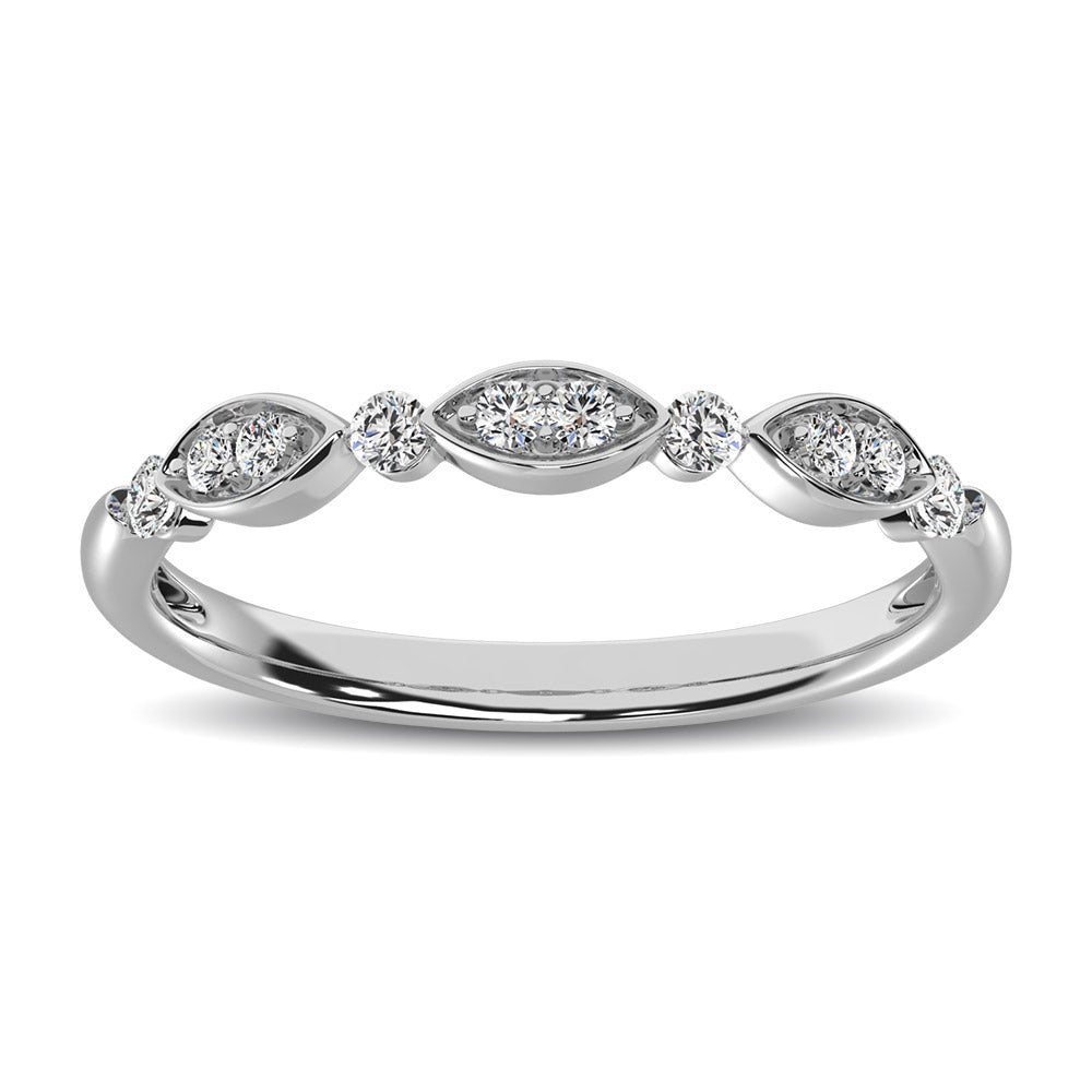 Marquise and Round Shape 1/5 ctw Diamond Stackable Band
