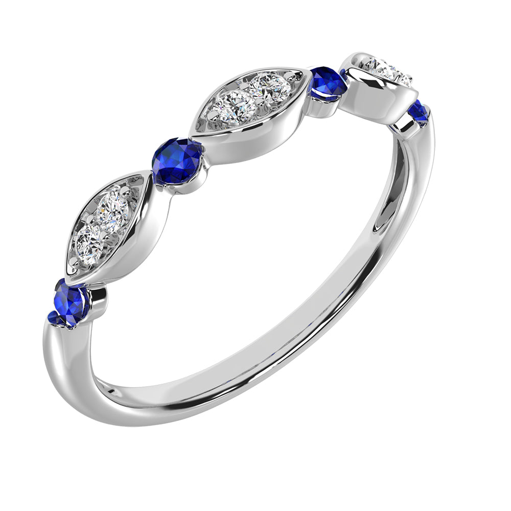 Diamond 1/5 ctw and Blue Sapphire Stack Ring