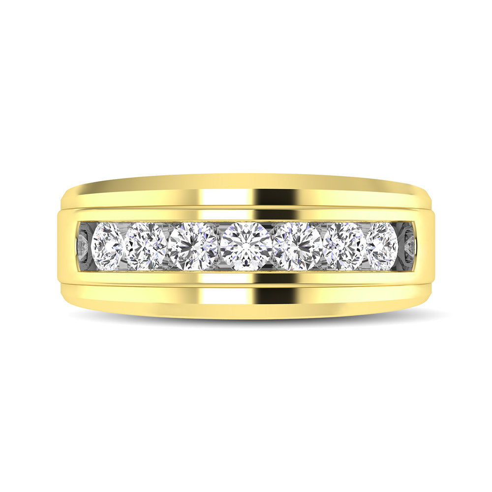 10K Yellow Gold 1/4 Ctw Round Cut Diamond Mens Wedding Band