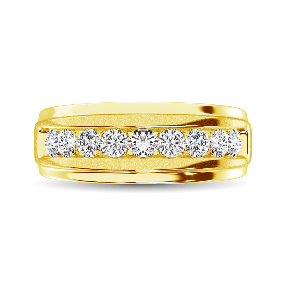 10K Yellow Gold 1/6 Ct.Tw. Diamond Satin Finish Ladies Band