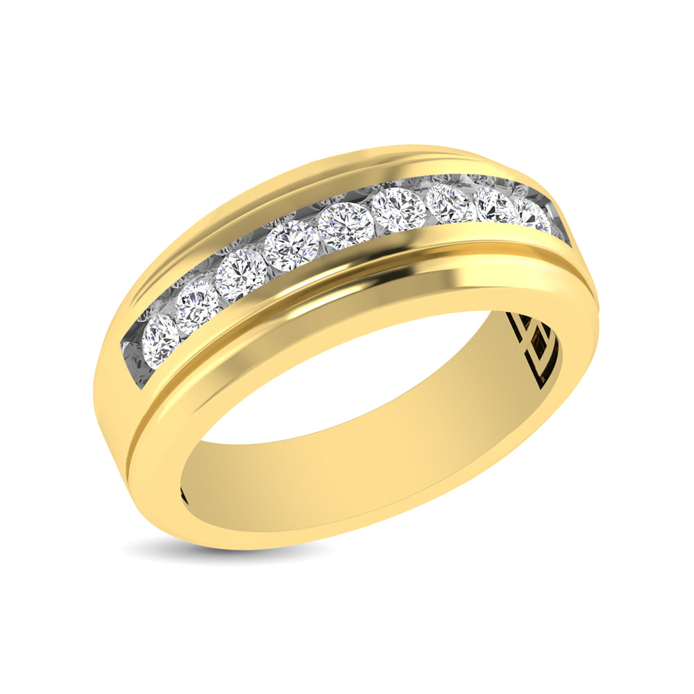 10K Yellow Gold 1/4 Ct.Tw. Diamond 9 Stone Satin Finish Mens Band