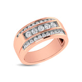 10K Rose Gold 1/2 Ctw Round Cut Diamond Mens Wedding Band