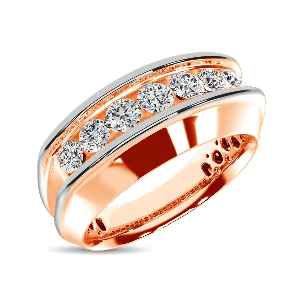 10K Rose Gold With Accent of 10K White Gold 1/4 Ct.Tw. Diamond 7 Stone Mens Band