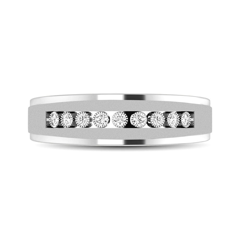 10K White Gold 1/20 Ct.Tw. Diamond Illusion Ladies Band