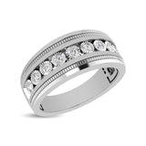 10K White Gold 1/2 Ct.Tw. Diamond 9 Stone Illusion Mens Band