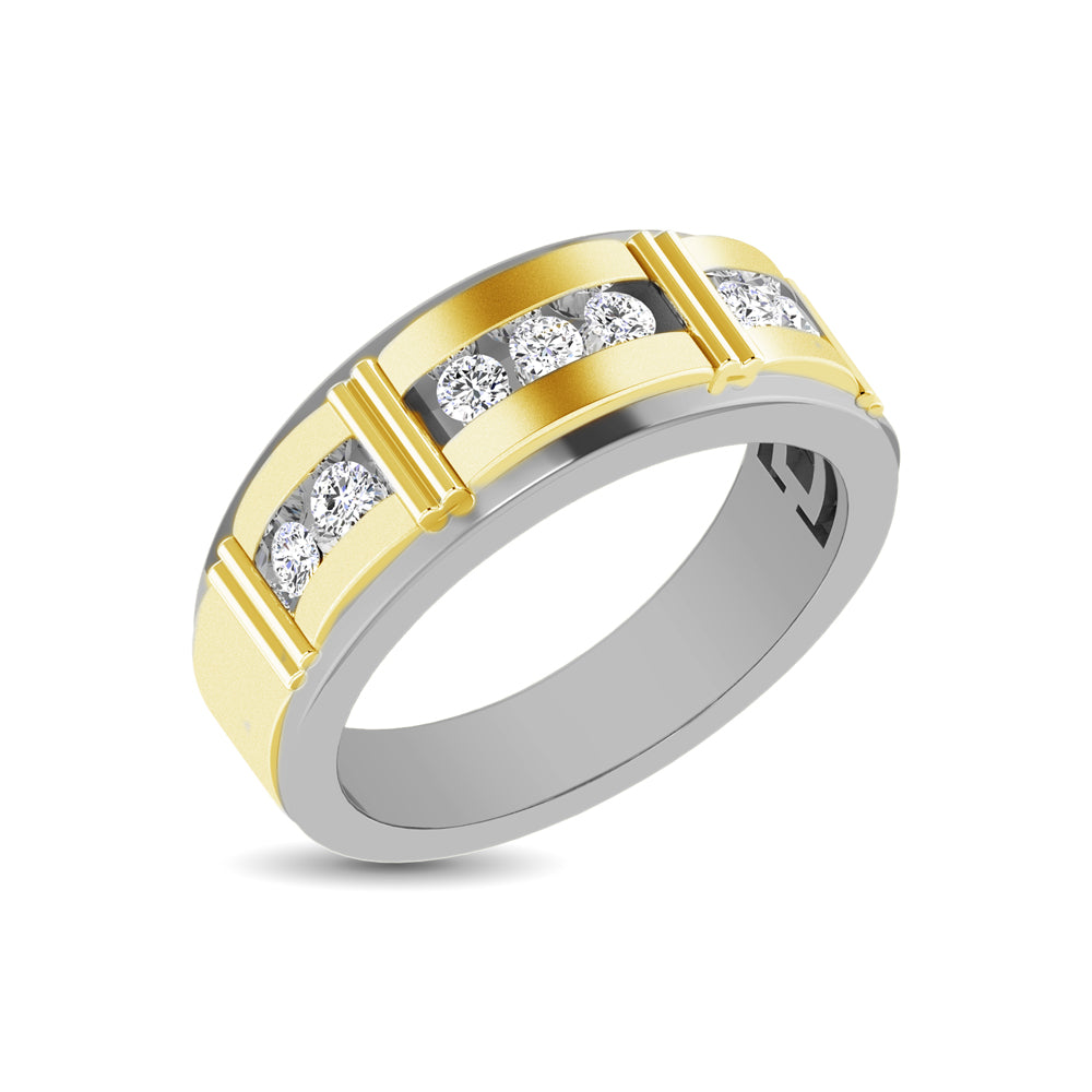 10K Two Tone 1/10 Ct.Tw. Diamond 7 stone Mens Band