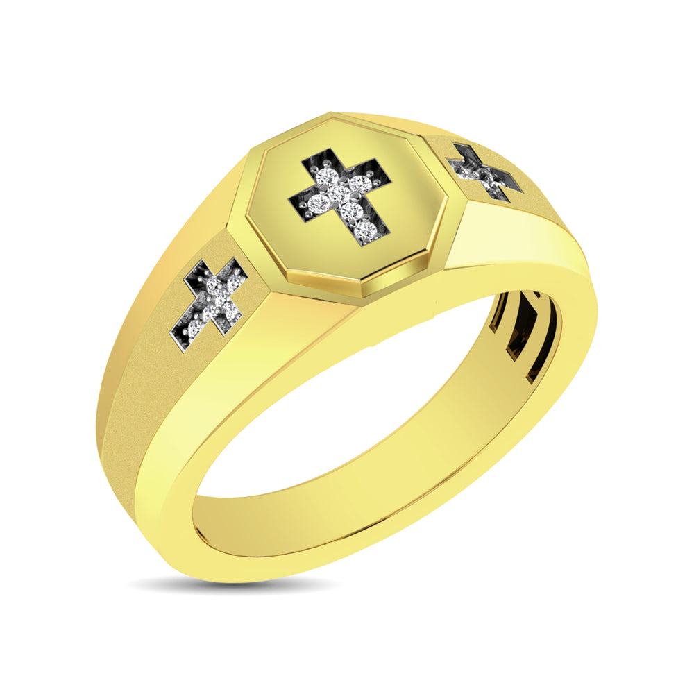 10K YellowGold 1/20 Ct.Tw. Diamond Men's Cross Ring