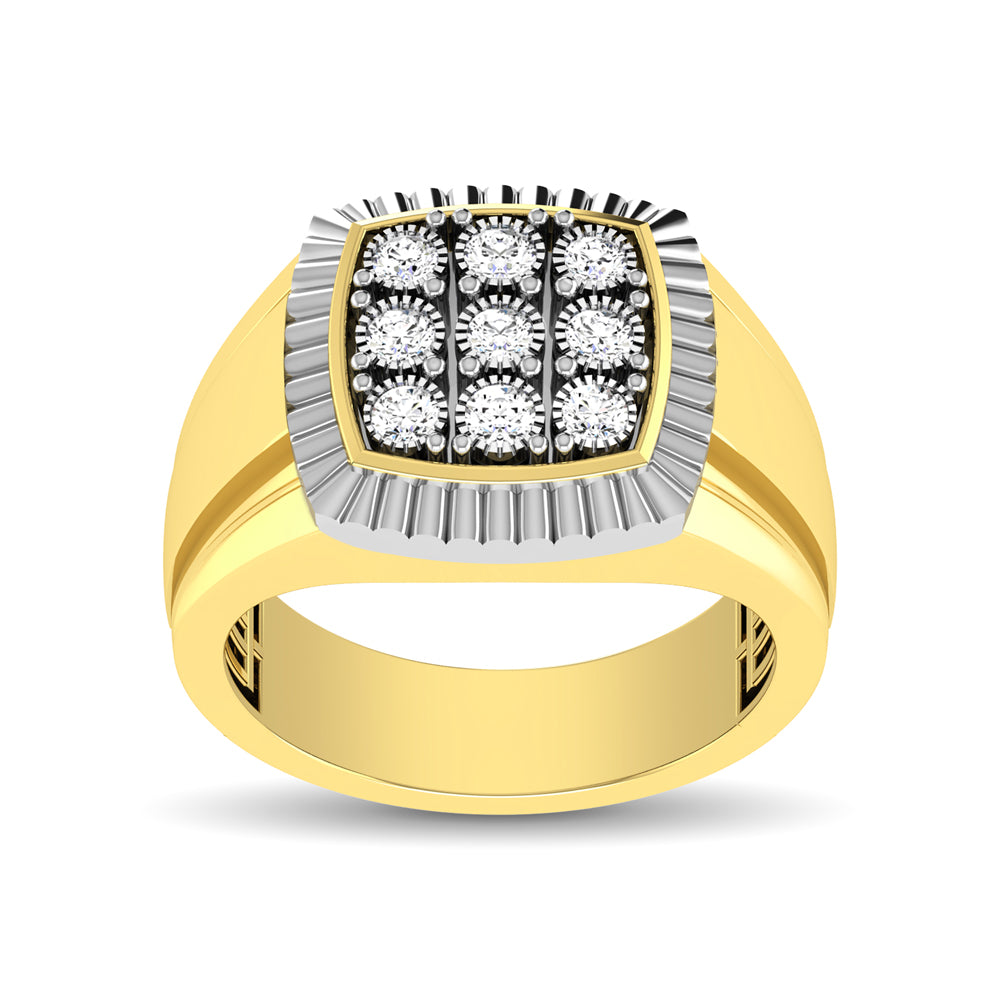 10K Yellow Gold 1/5 Ct.Tw. Diamond Illusion Men's Fashion Ring