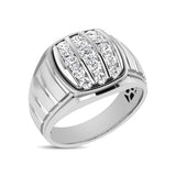 10K White Gold 1 Ct.Tw. Diamond Verticle Stripe Mens Fahion Ring