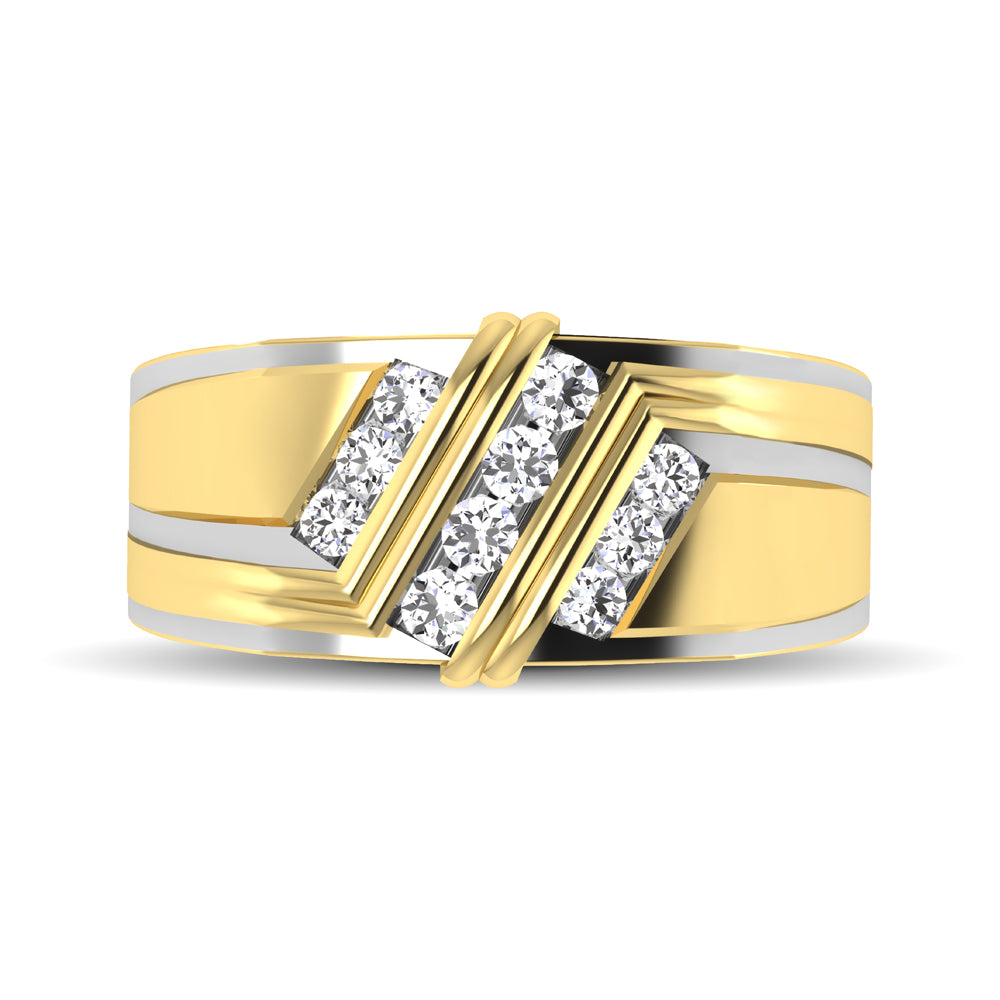 10K Yellow Gold 1/2 Ctw Round Cut Diamond Mens Wedding Band