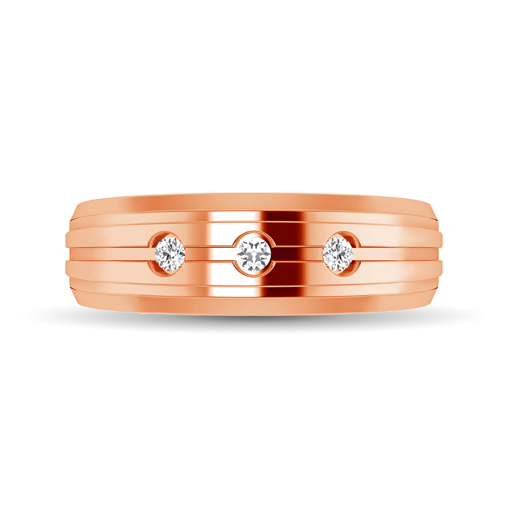 10K Rose Gold 1/10 Ctw Round Cut Diamond Mens Band