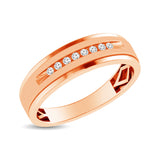 Mens 1/10 ctw Diamond Band in 10K Rose Gold