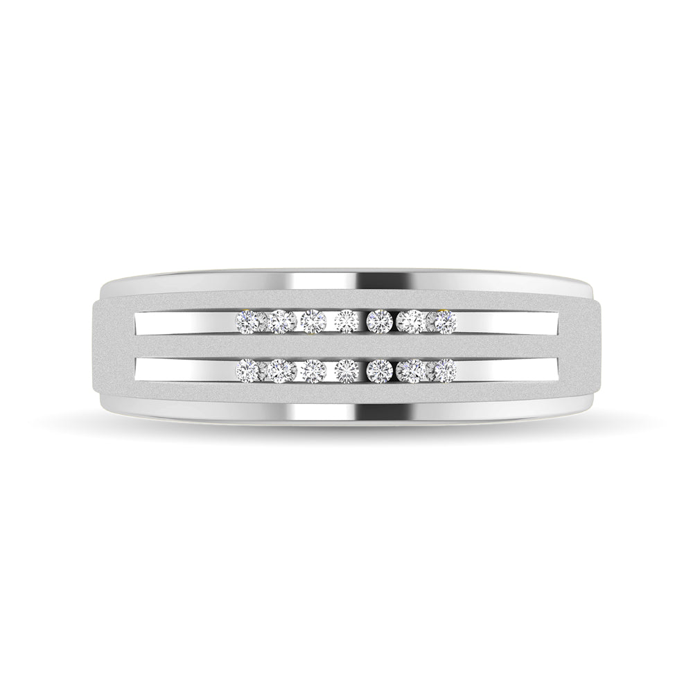 10K White Gold Diamond 1/10 Ctw Mens Ring