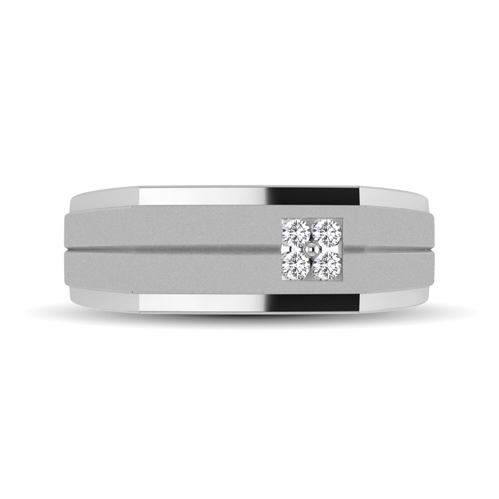 10K White Gold 1/10 Ct.Tw. Diamond Men's Ring