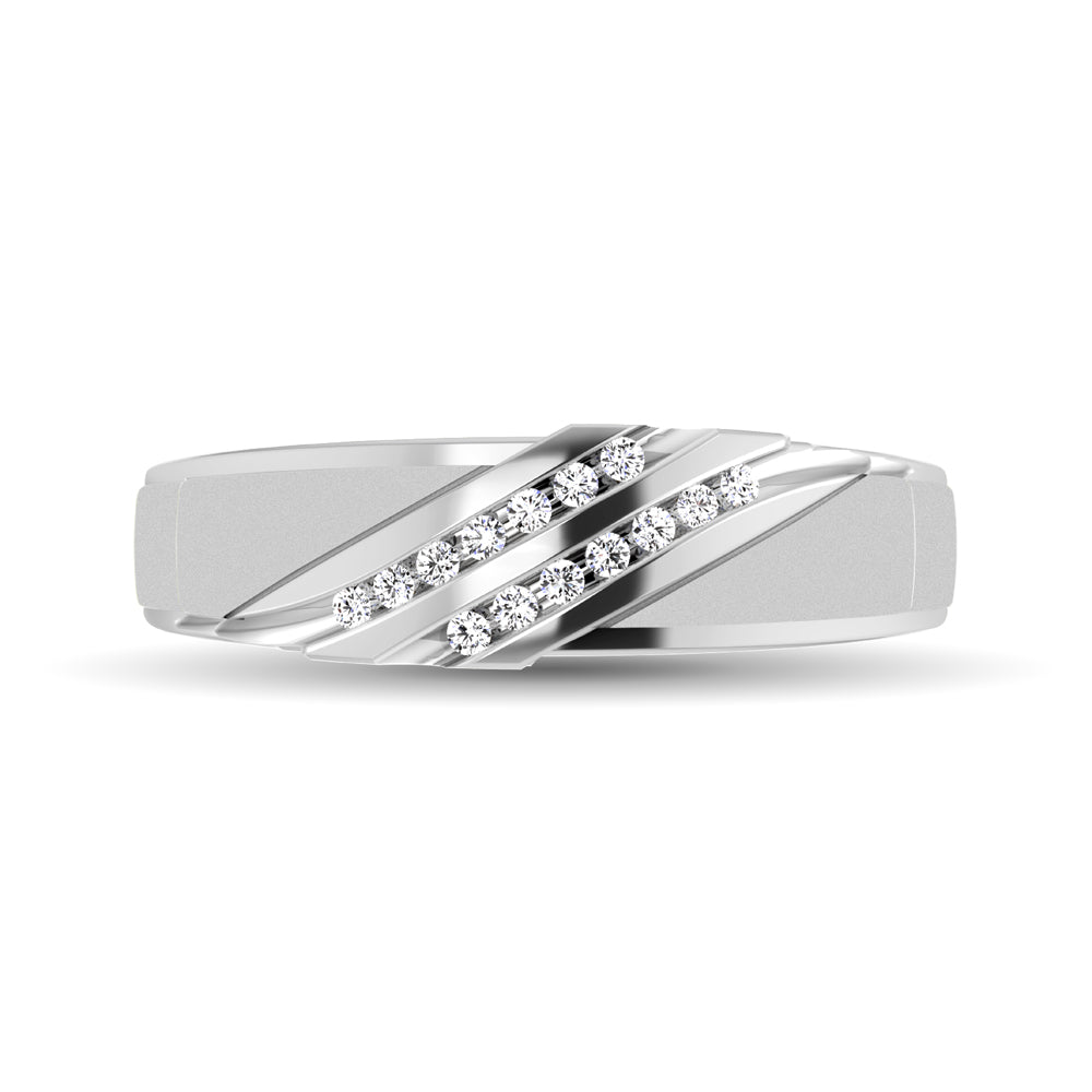 Diamond Accent 1/10 Ctw Ladies  Slant Wedding Band in 10K White Gold