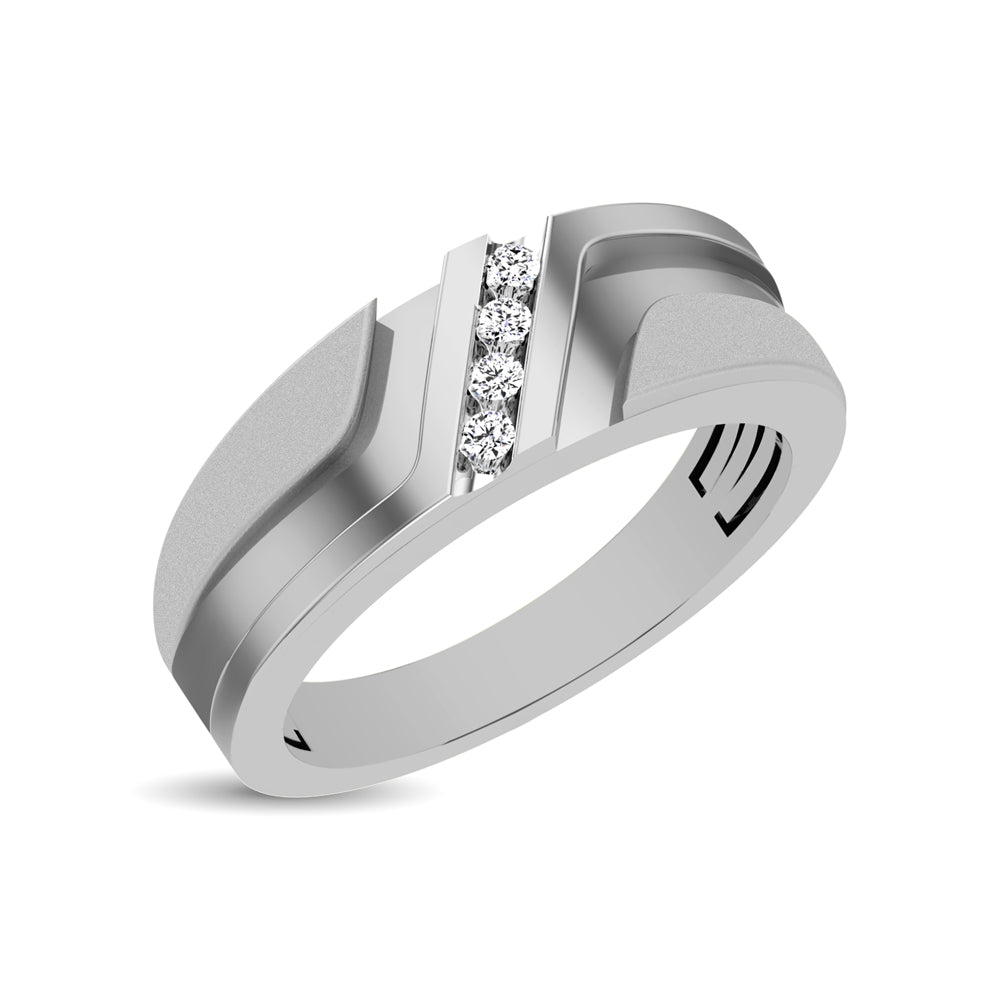 10K White Gold 1/10 Ct.Tw. Diamond Mens Band