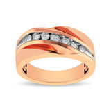 10K Rose Gold 1/10 Ct.Tw. Diamond Illusion Mens Band