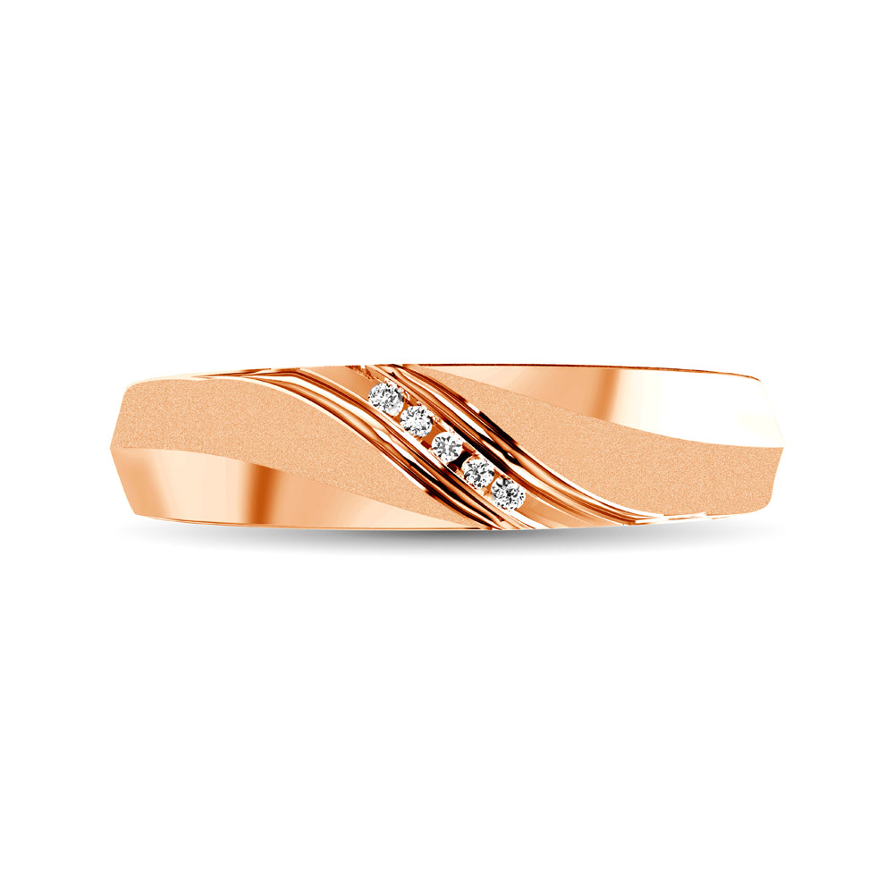 Ladies Diamond Accent Wedding Band in 10K Rose Gold