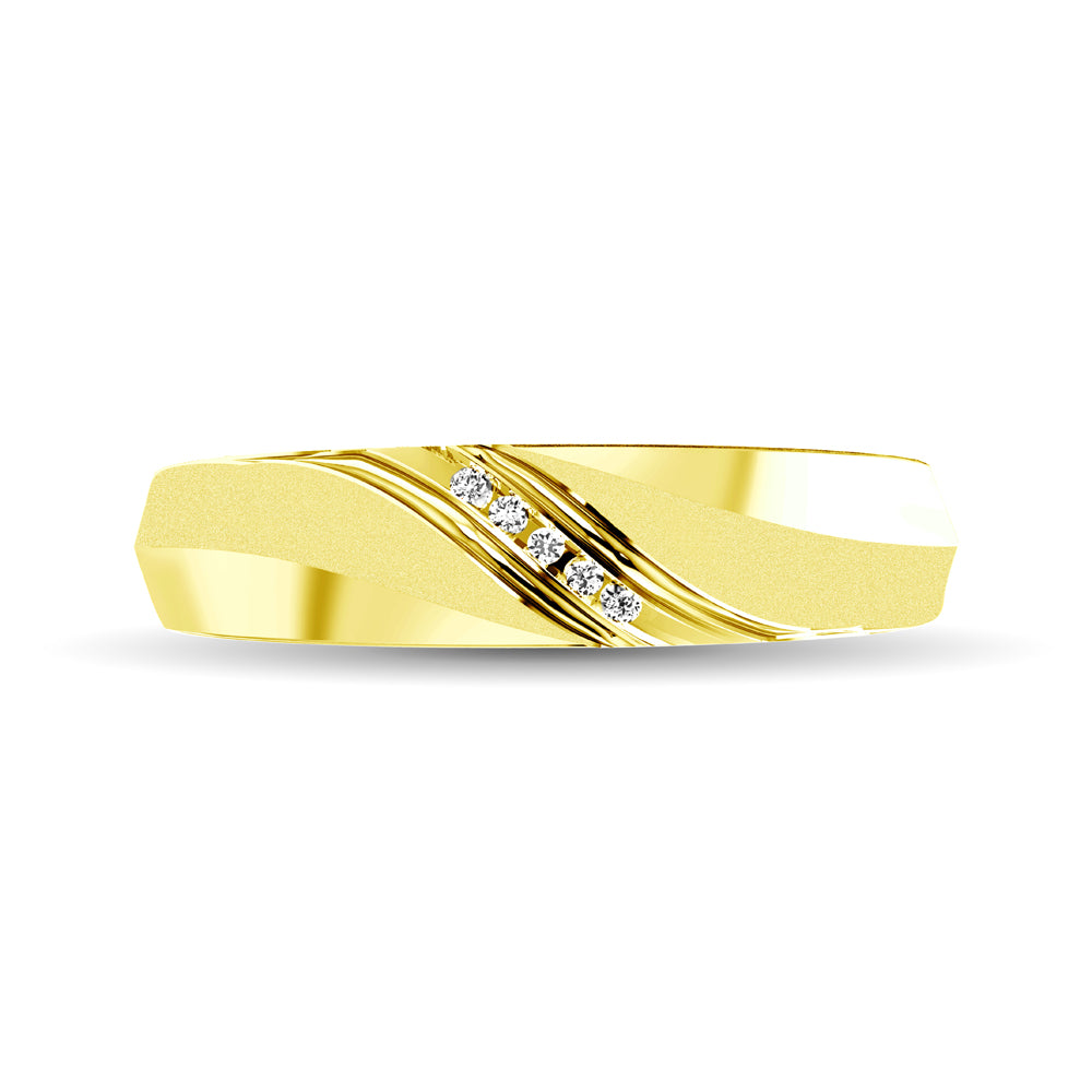 Ladies Diamond Accent Wedding Band in 10K Yellow Gold