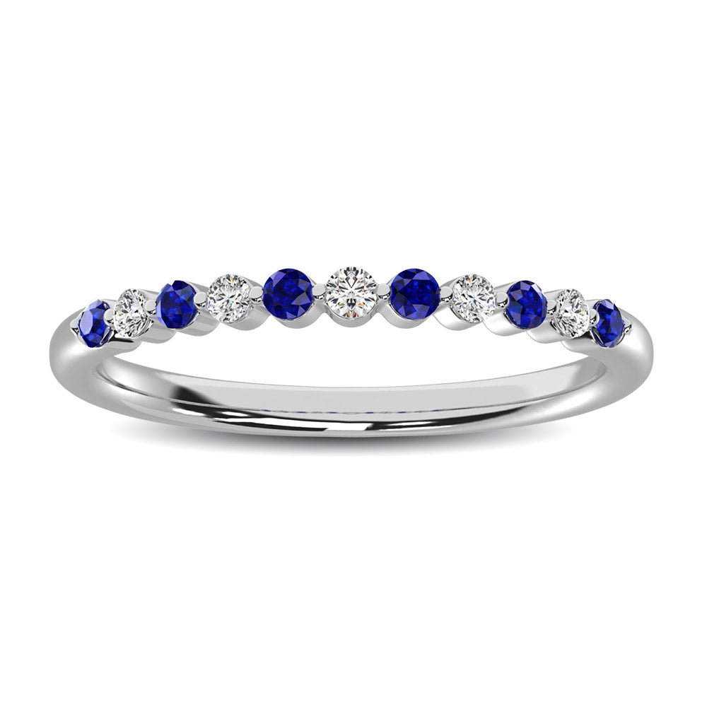 14K White Gold Alternate Diamond 1/4 Ctw and Blue Saphire Ring
