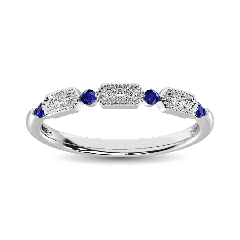 14K White Gold Alternate Diamond 1/5 Ctw and Blue Saphire Ring