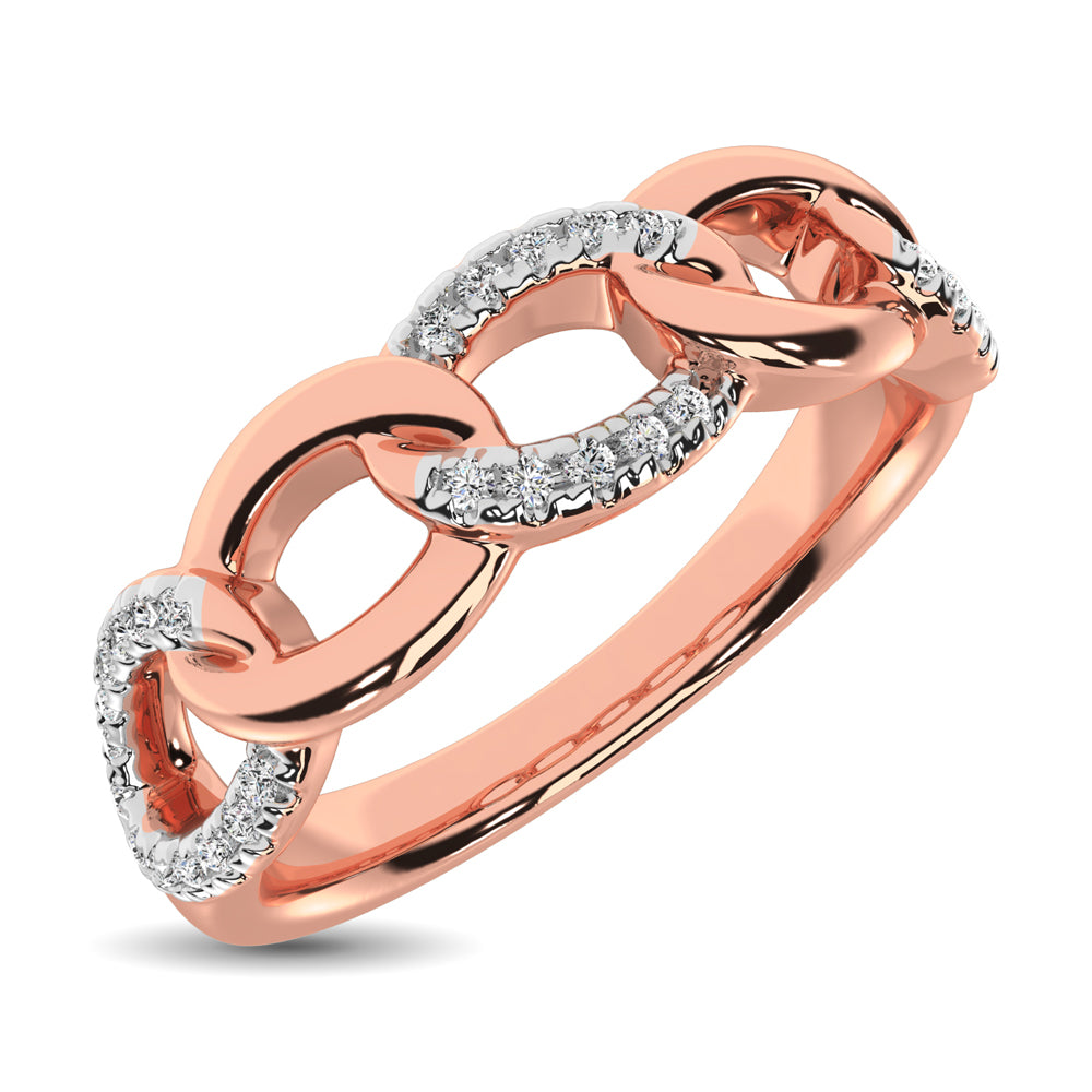 14K Rose Gold 1/6 Ct.Tw. Diamond Interlinked Annivesary Band