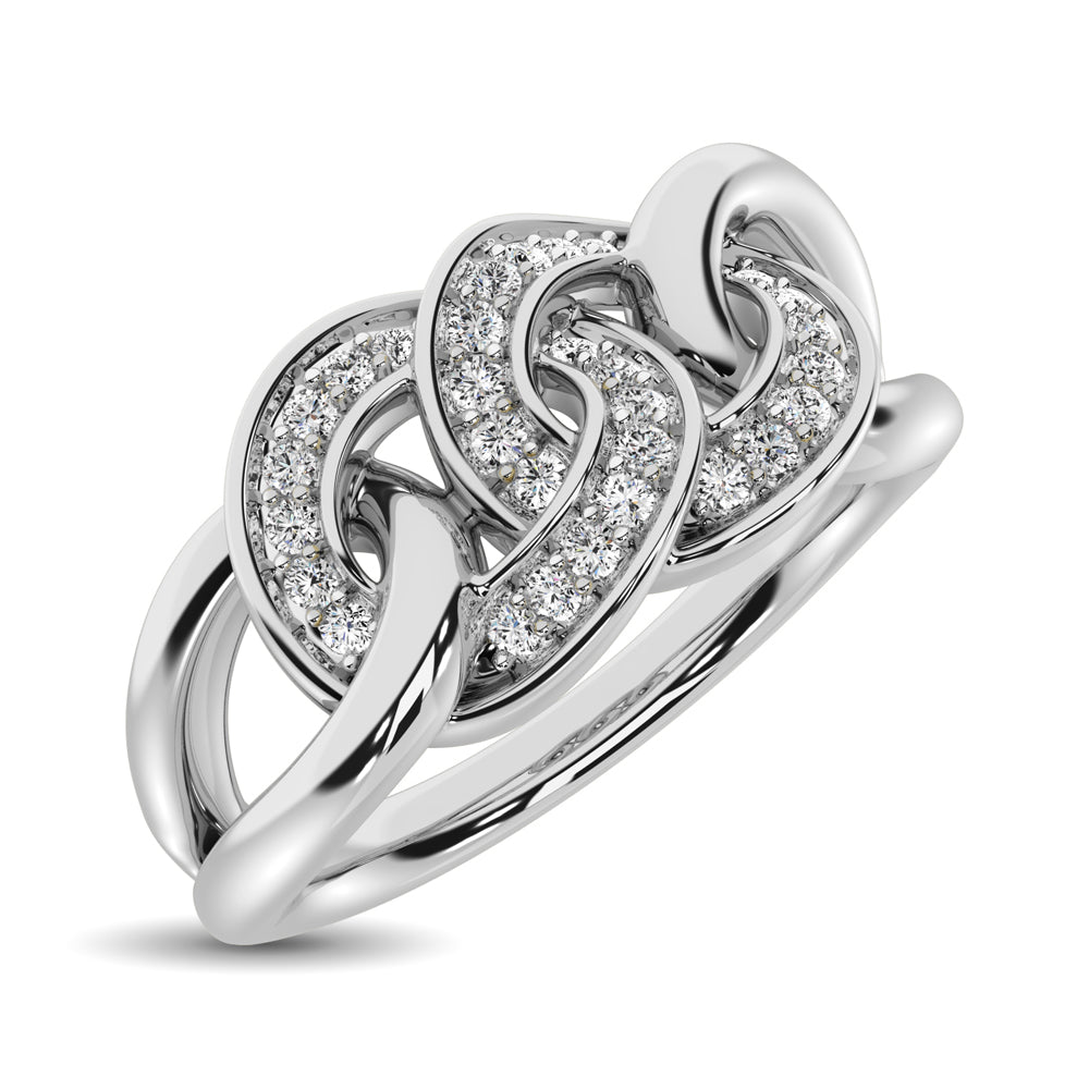 10K White Gold 1/5 Ct.Tw. Diamond Interlinked Circle Ring