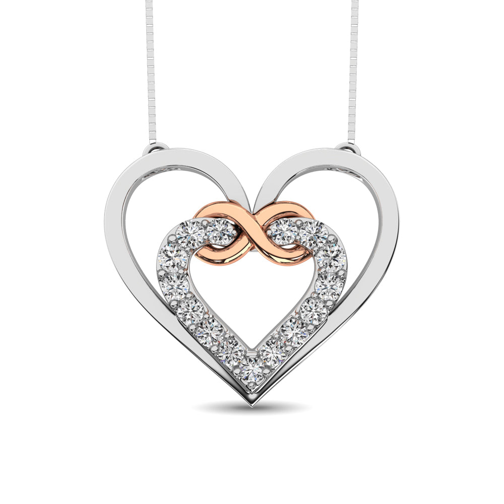 Sterling Silver Diamond Accent Heart and Infinity Pendant