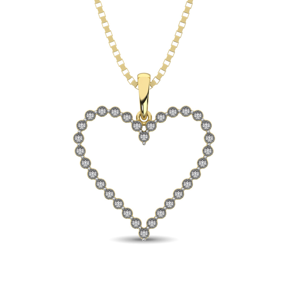 Sterling Silver Yellow Plating 1/10 Ct.Tw. Diamond Heart Pendant