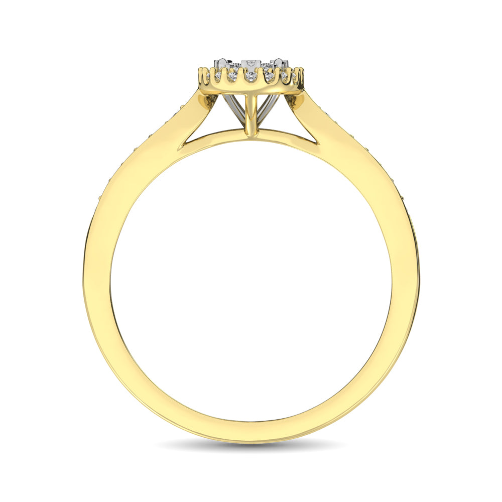 10K Yellow Gold 1/4 Ct.Tw. Diamond Heart Ring