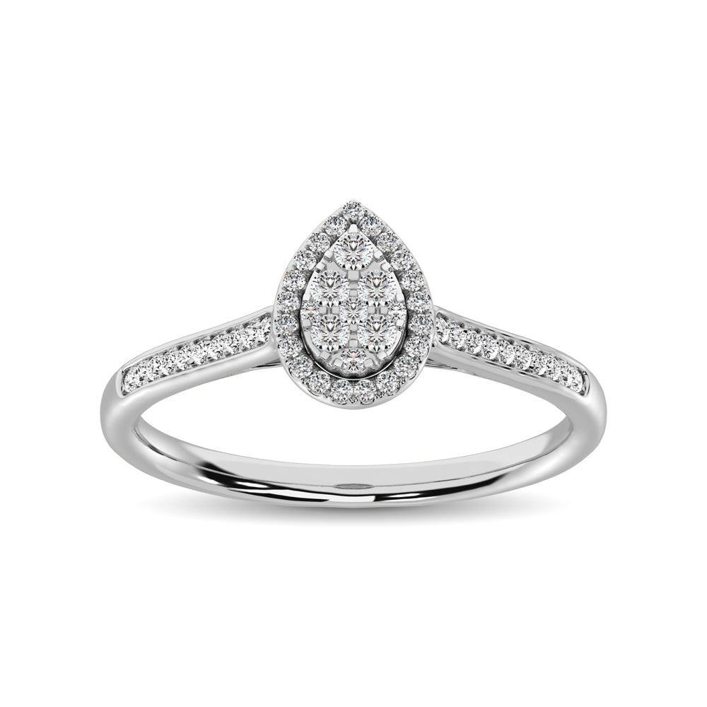 10K White Gold 1/4 Ct.Tw. Diamond Heart Ring