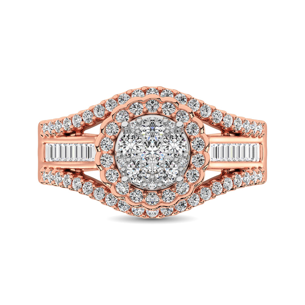 10K Rose Gold Round and Baguette Diamond 1 Ct.Tw. Engagement Ring