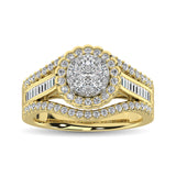 10K Yellow Gold Round and Baguette Diamond 1 Ct.Tw. Engagement Ring