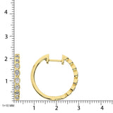 14K Yellow Gold 1/3 Ct.Tw. Diamond Hoop Earrings