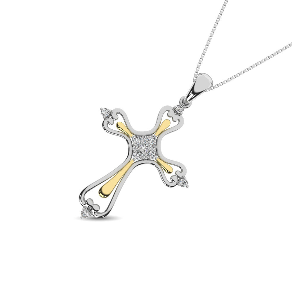 14K Two Tone 1/8 Ct.Tw. Diamond Cross Pendant