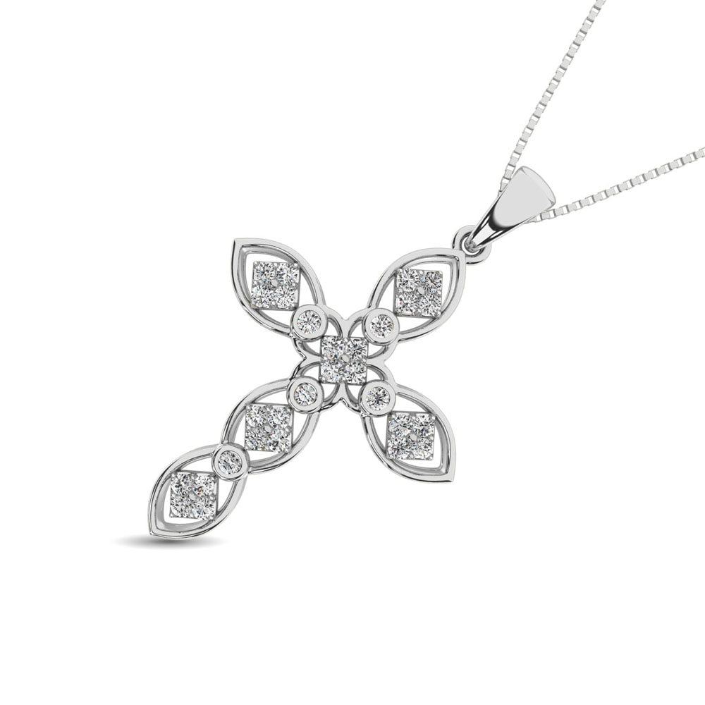 14K White Gold 1/5 Ct.Tw. Diamond Cross Pendant