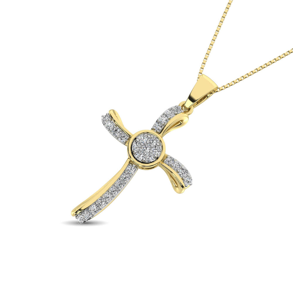 14K Yellow Gold 1/5 Ct.Tw. Diamond Cross Pendant