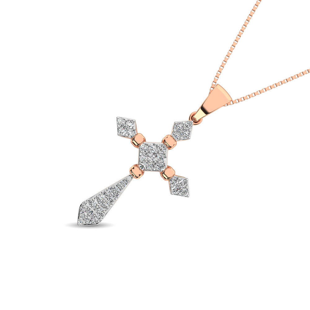 14K Rose Gold 1/5 Ct.Tw. Diamond Cross Pendant