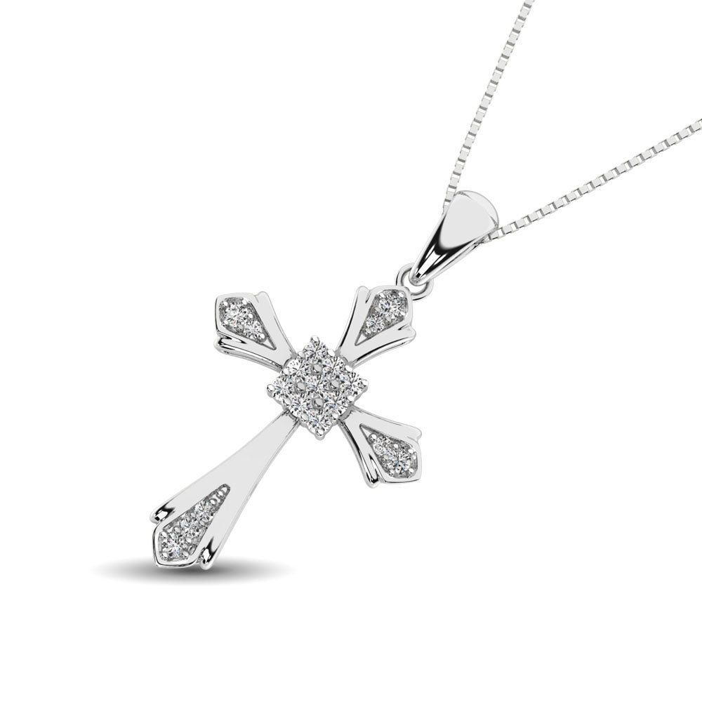 14K White Gold 1/6 Ct.Tw. Diamond Cross Pendant