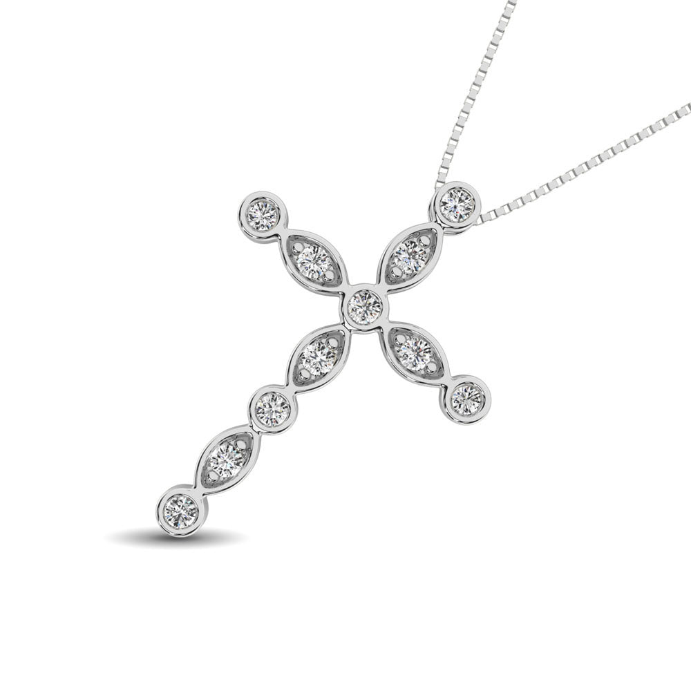 14K White Gold 1/4 Ct.Tw. Diamond Cross Pendant
