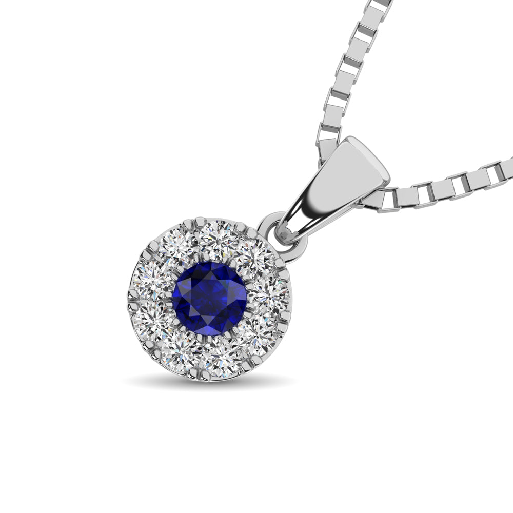 14K White Gold Diamond 1/4 Ct.Tw. and Blue Sapphire Pendant