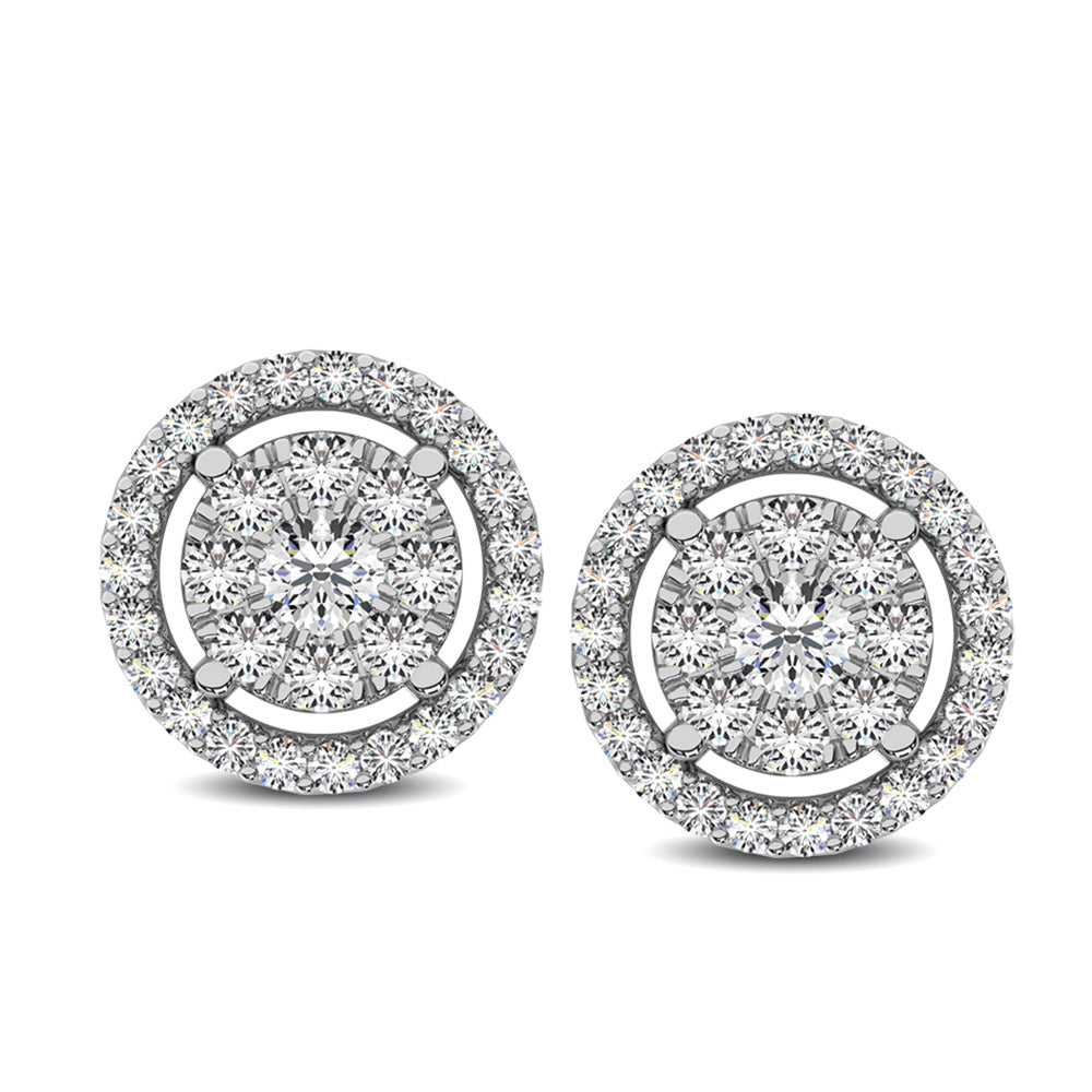 Diamond 1/2 Ct.Tw. Round Double Frame Stud Earrings