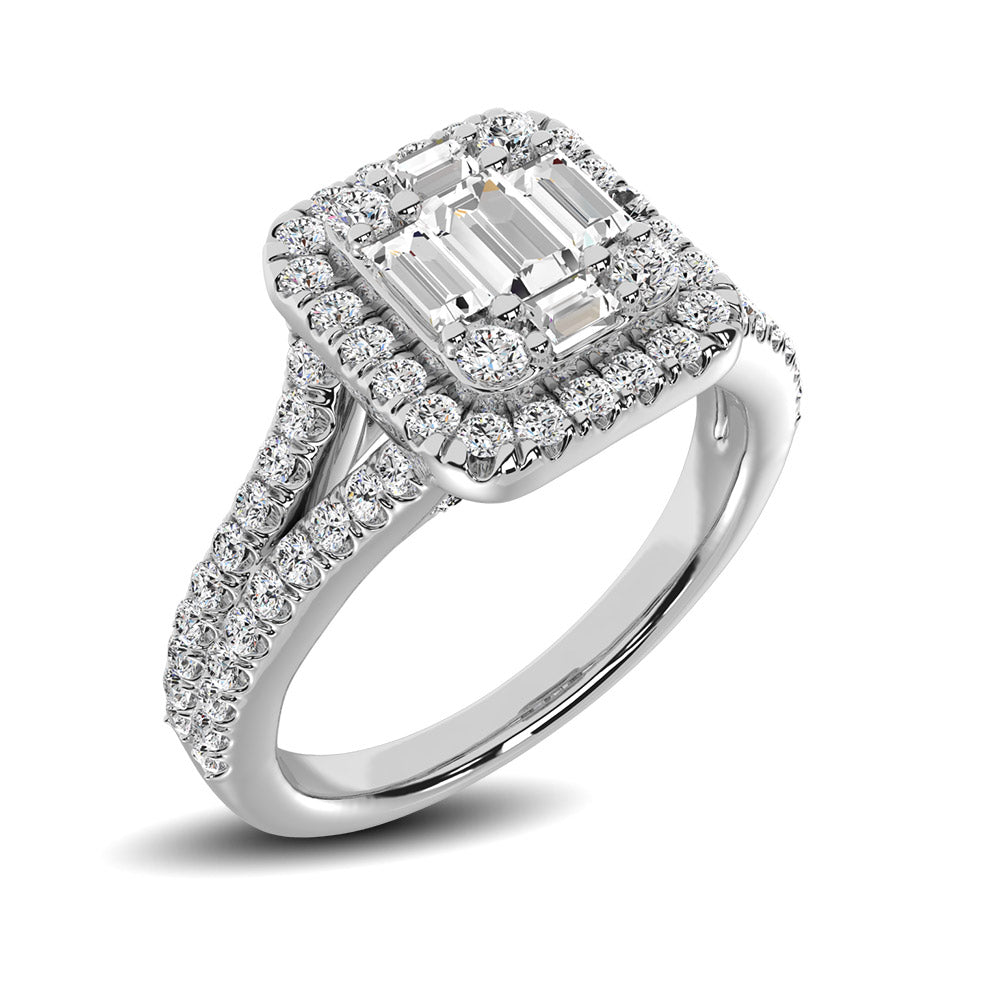 14K White Gold 3/4 Ctw Diamond 5 Stone Baguette Engagement Ring