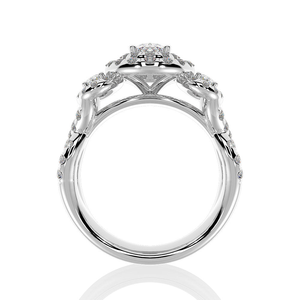 14K White Gold 1 3/4 Ctw Oval Cut Diamond Engagement Ring