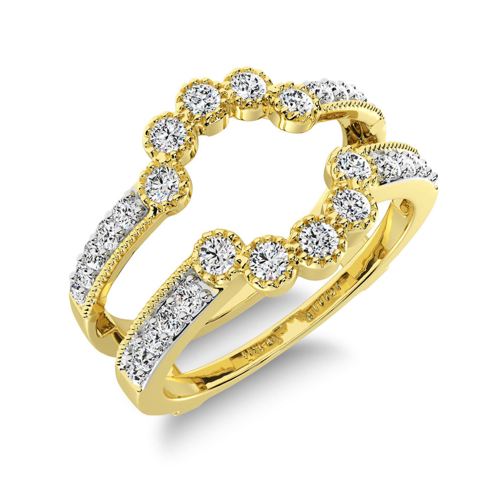 14K Yellow Gold 2/5 Ct.Tw. Diamond Guard Ring with Milgrain Detail