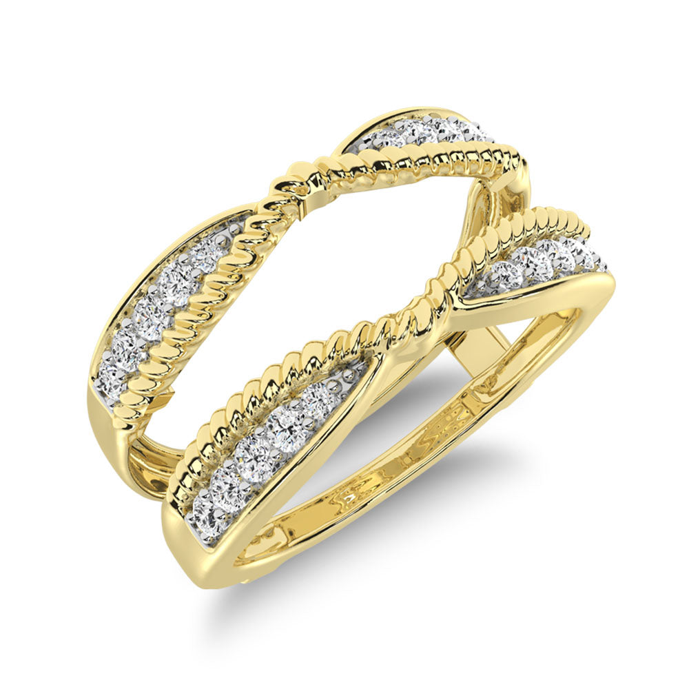 14K Yellow Gold 1/4 Ct.Tw. Diamond Rope Texute Guard Ring