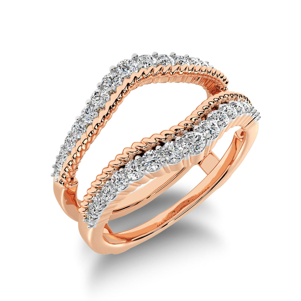 14K Rose Gold 2/5 Ct.Tw. Diamond Rope Texute Guard Ring